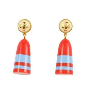 NWT Tory Burch Red Buoy Drop Earrings